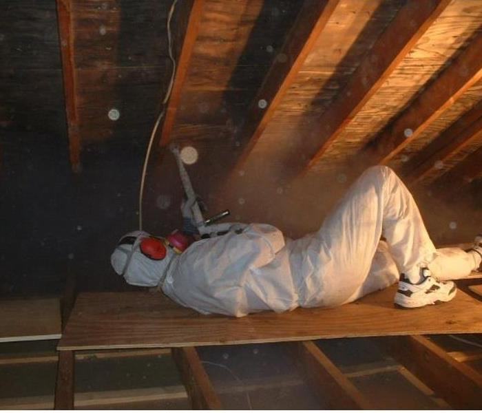 Dry Ice Blasting in the Attic. Before